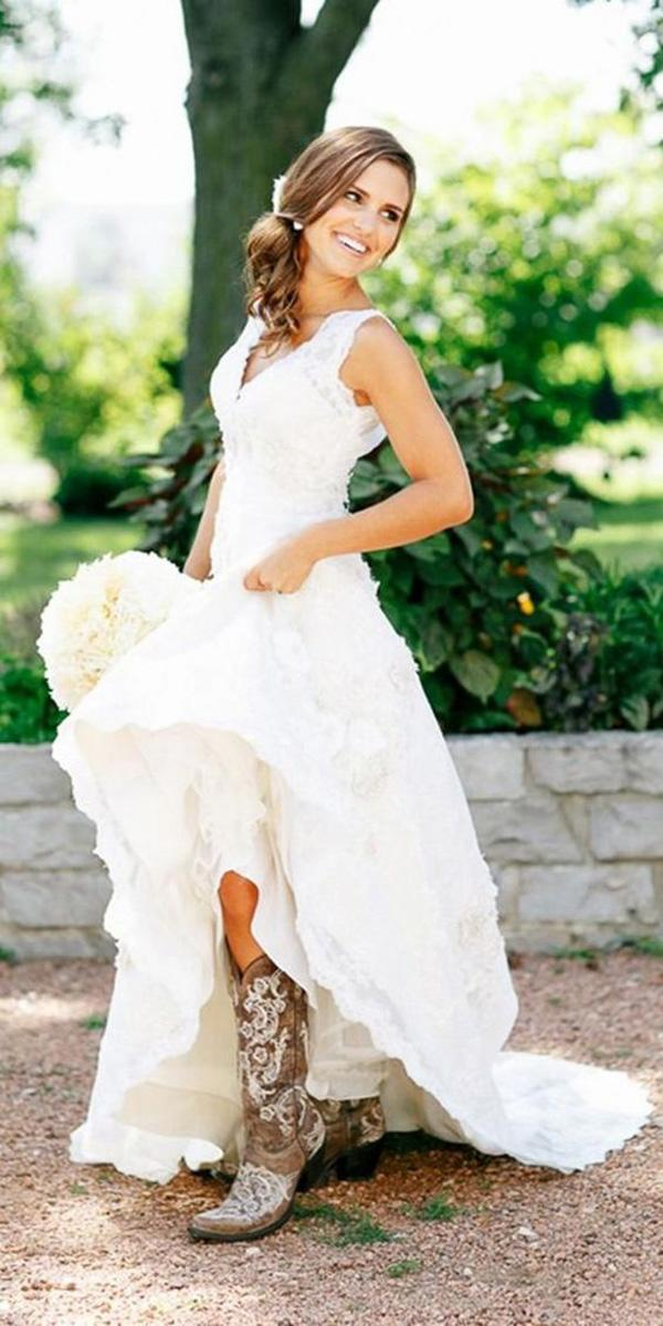 rustic lace wedding dresses v neck with boots kina wicks photography