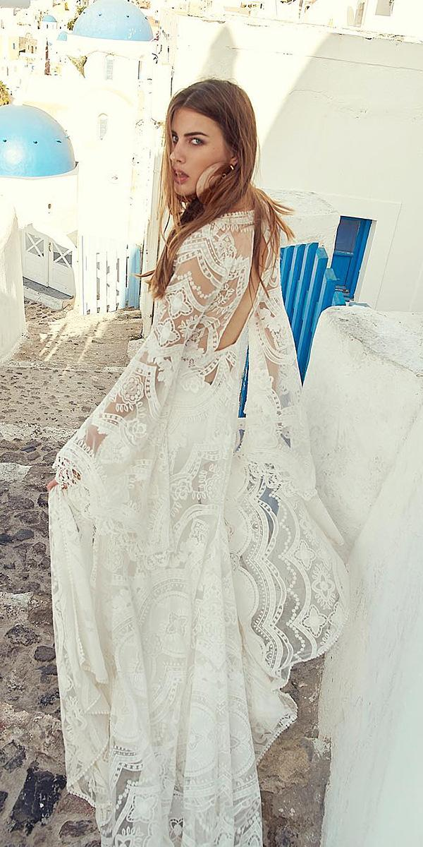 rustic lace wedding dresses with blowing sleeves lace boho rue de seine