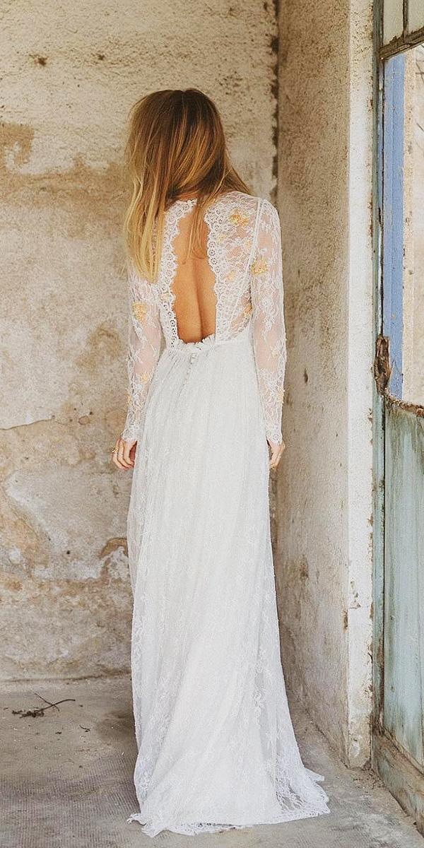 rustic lace wedding dresses with long sleeves open back lace embellishment immacle