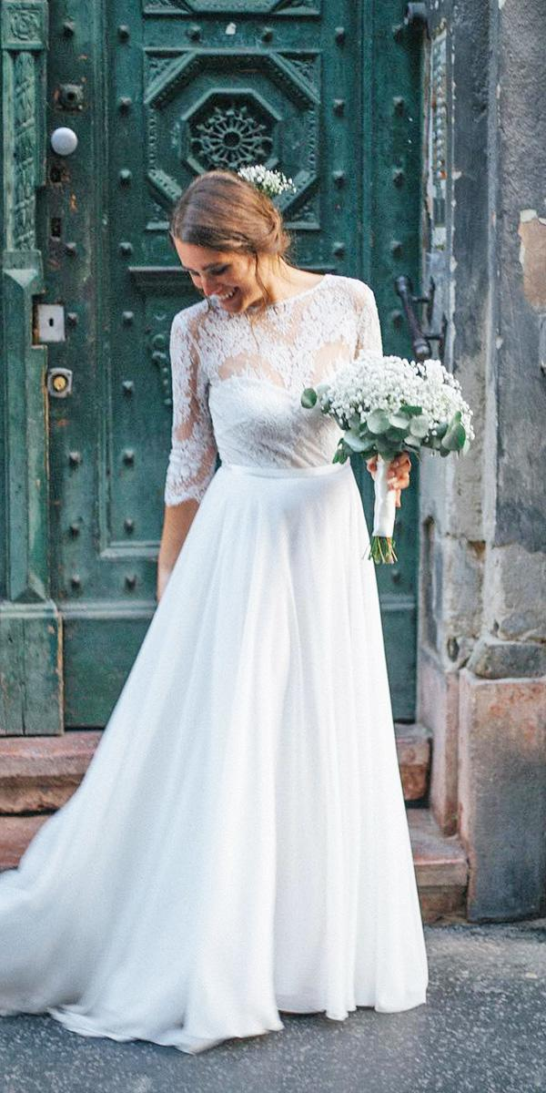 rustic lace wedding dresses with three quote sleeves lace top daalarna couture