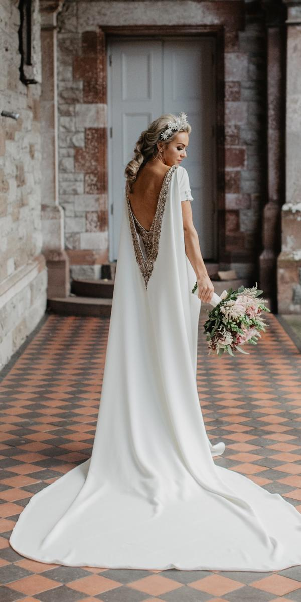 simple vintage wedding dresses low back short sleeves embroidered backless with train paulamcmanus