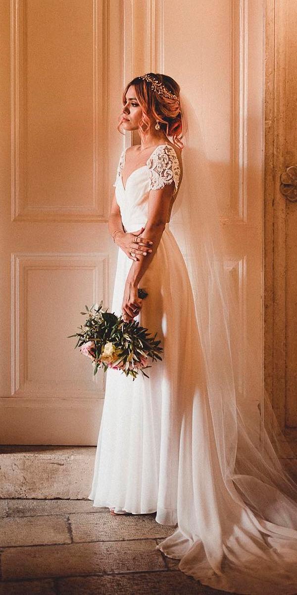simple vintage wedding dresses straight lace sleeves sweetheart neckline nina nphoto