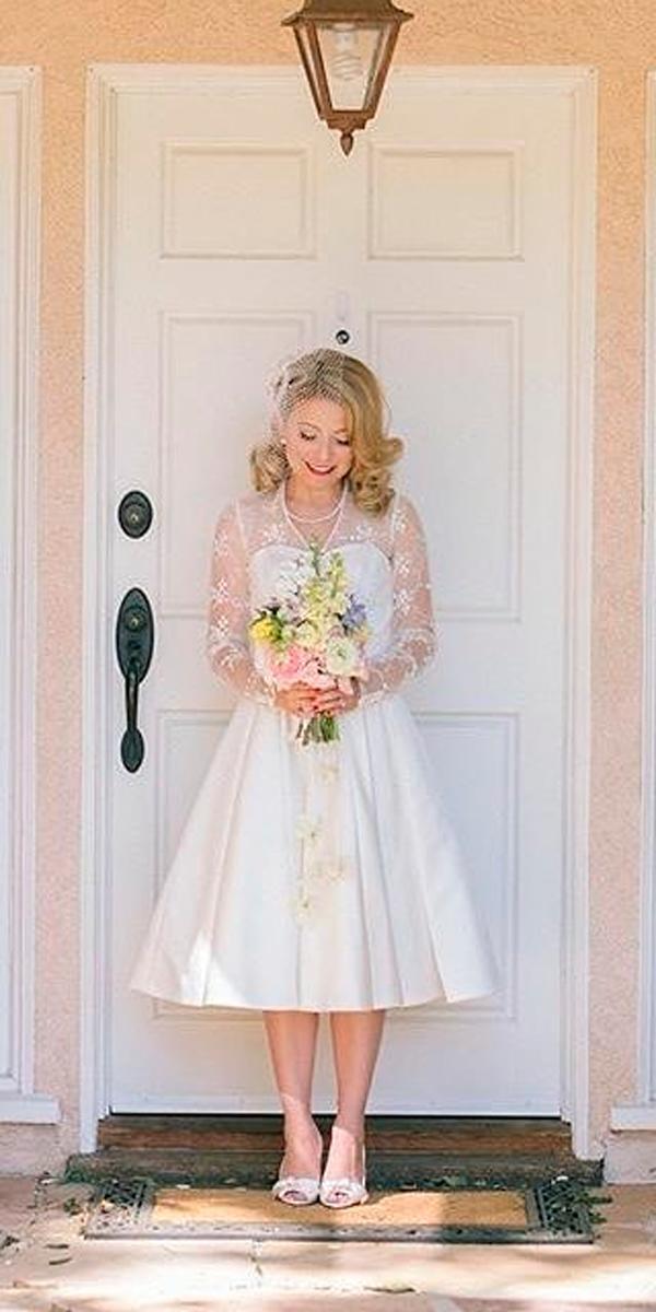 tea length vintage wedding dresses lace illusion neckline long sleeve elizabethburgi