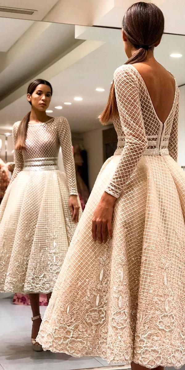 tea length vintage wedding dresses open back long sleeve lace moeshour