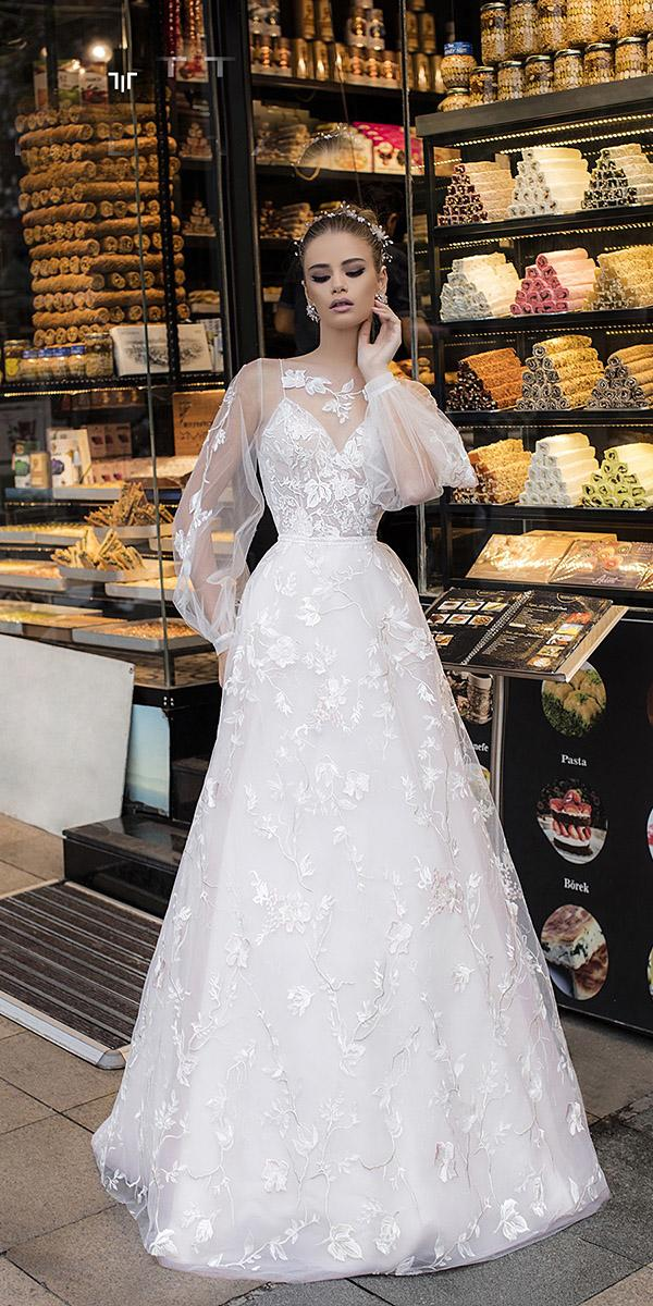liretta wedding dresses a line with sleeves floral modern trend 2018