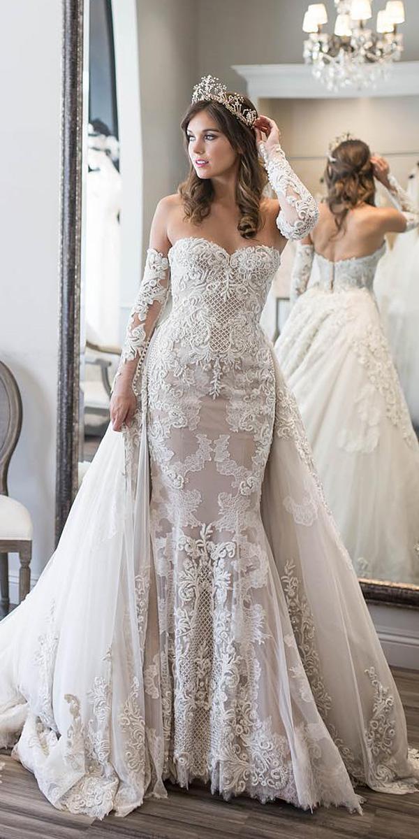 vintage wedding dresses mermaid strapless detached sleeves jaton bride