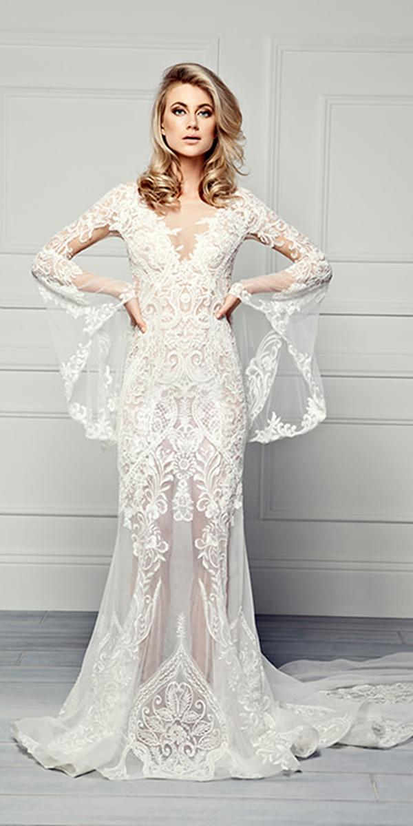 vintage wedding dresses sheath with illusion sleeves romantic pallas couture