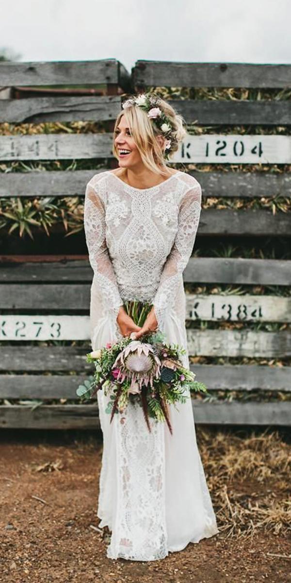 vintage wedding dresses sheath with log sleeves boho grace love lace