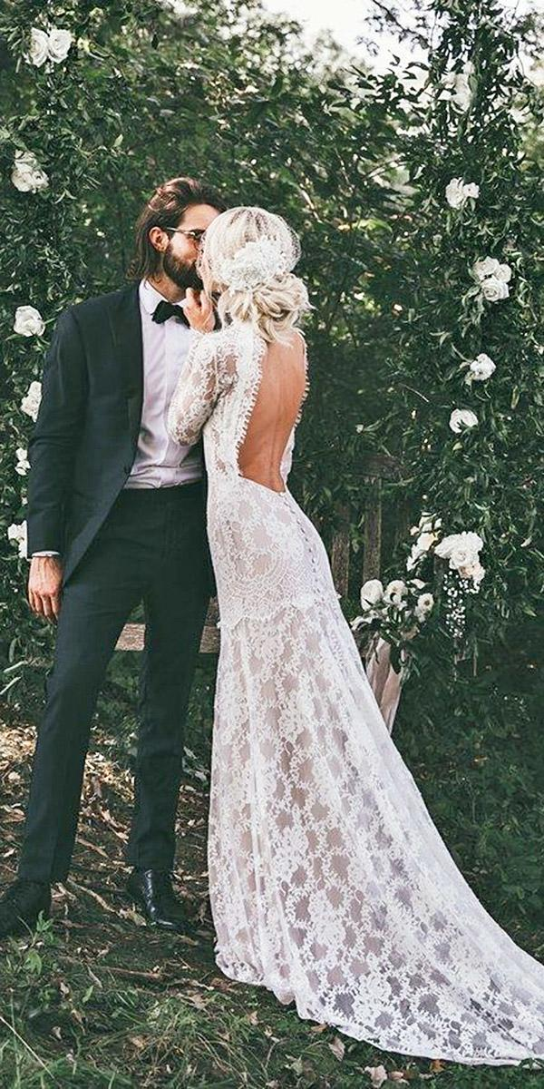 vintage wedding dresses with long sleeves open back boho claire pettibone