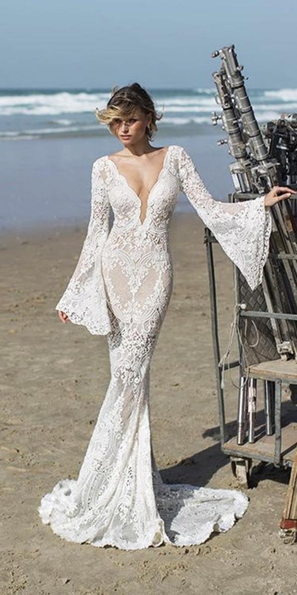 vintage weddng dresses mermaid deep v neckline with long sleeves beach mariée