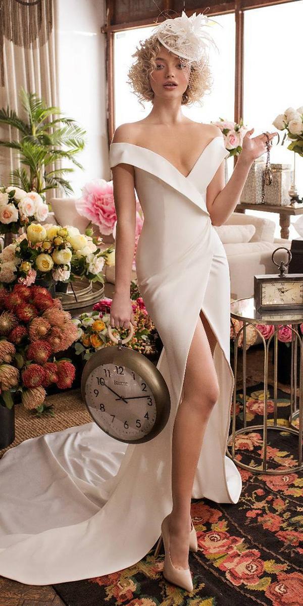 wedding dresses 2018 off the shoulder slit simple lian rokman