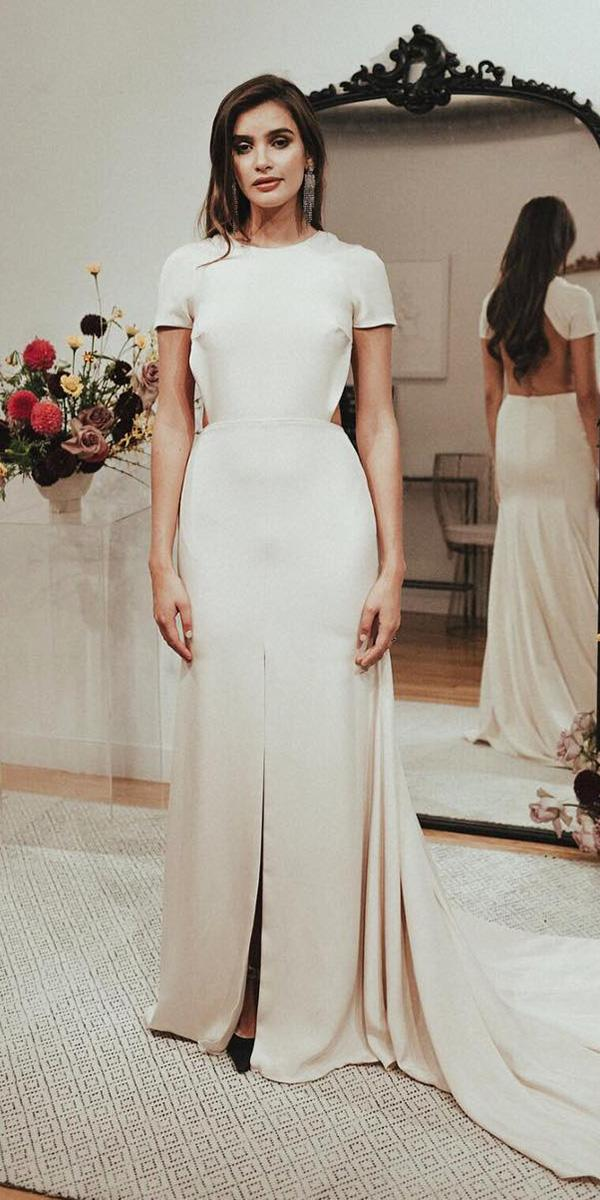 wedding dresses 2018 sheath with cap sleeves slit smple sarah seven