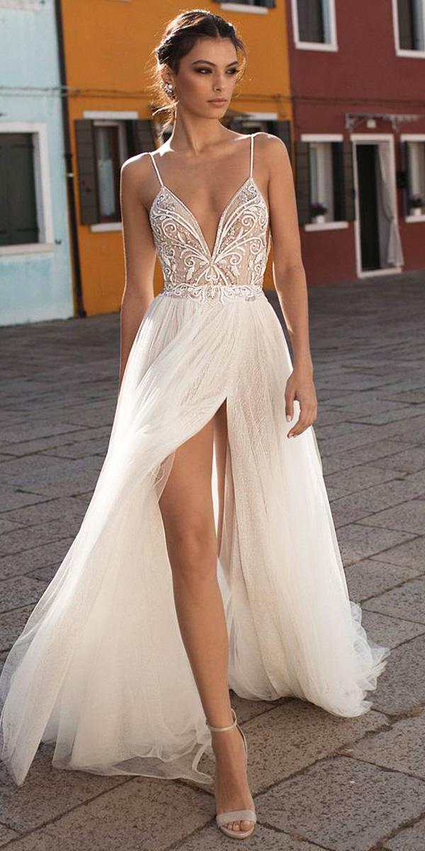 wedding dresses 2018 with spaghetti straps slit beach gali karten