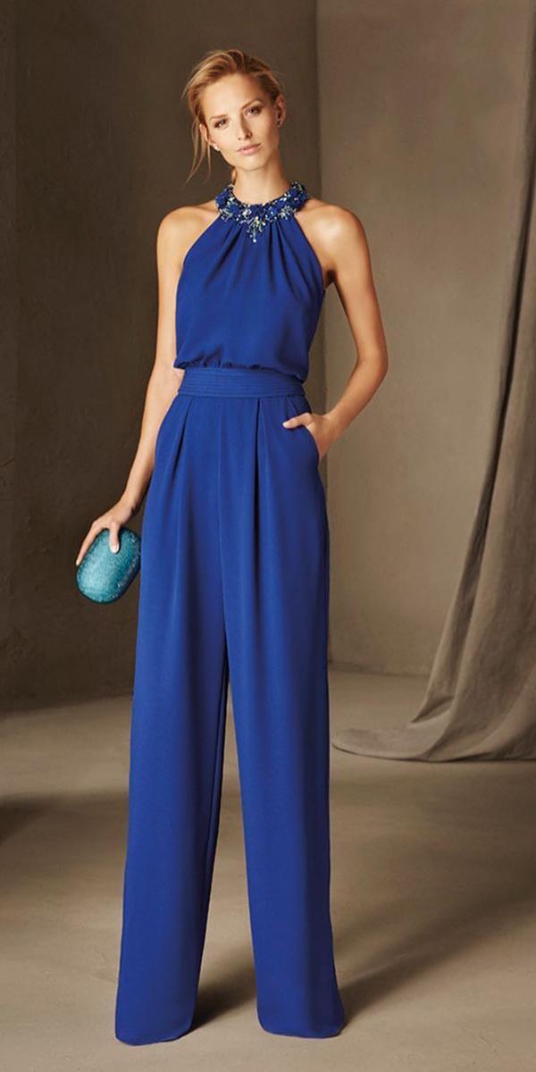 wedding party dresses jumpsuits halter jewel neckline pronovias