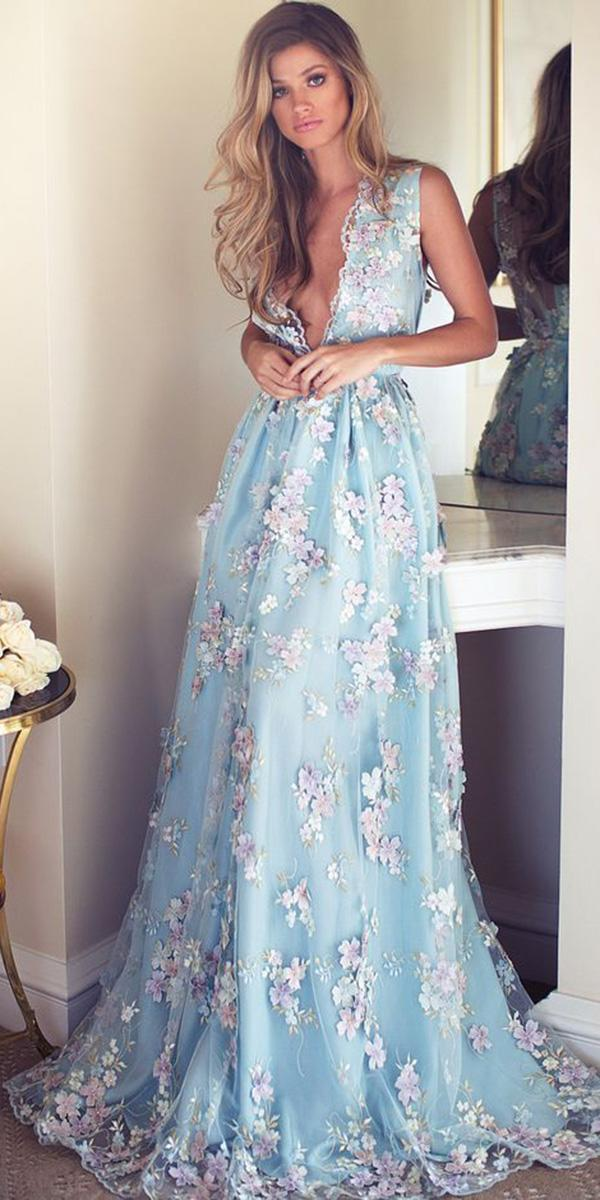 wedding party dresses long deep v neckline blue with floral appliques lurelly