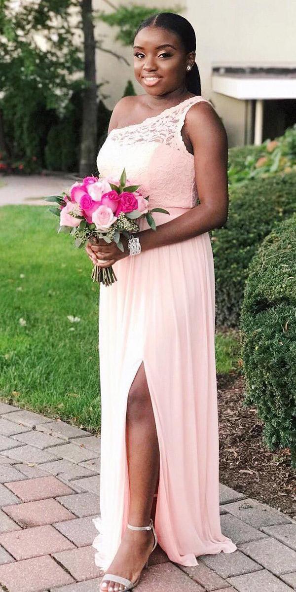 wedding party dresses long one shoulder lace slit plus size davids bridal
