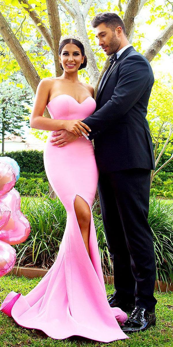 wedding party dresses long sweetheart with slit pink for garden doll house bridesmaids