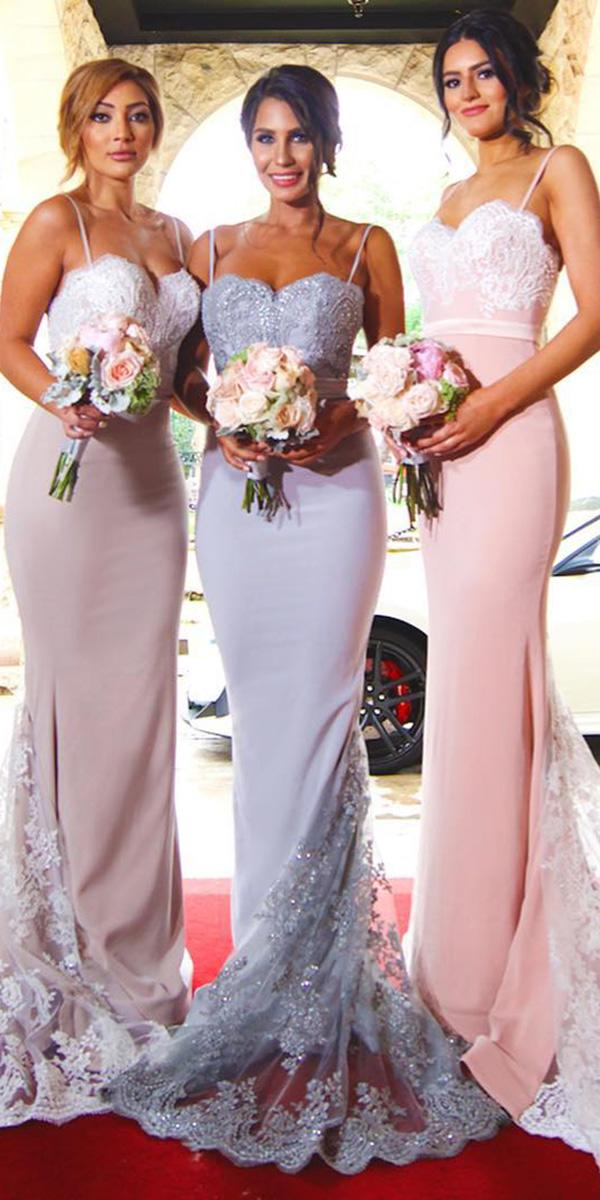 wedding party dresses long with spaghetti straps sequins pastel doll house bridesmaids