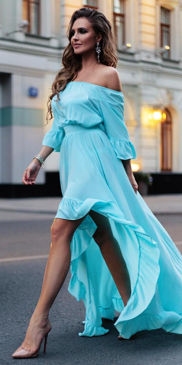 wedding party dresses tea length with sleeves blue guest malina fashion