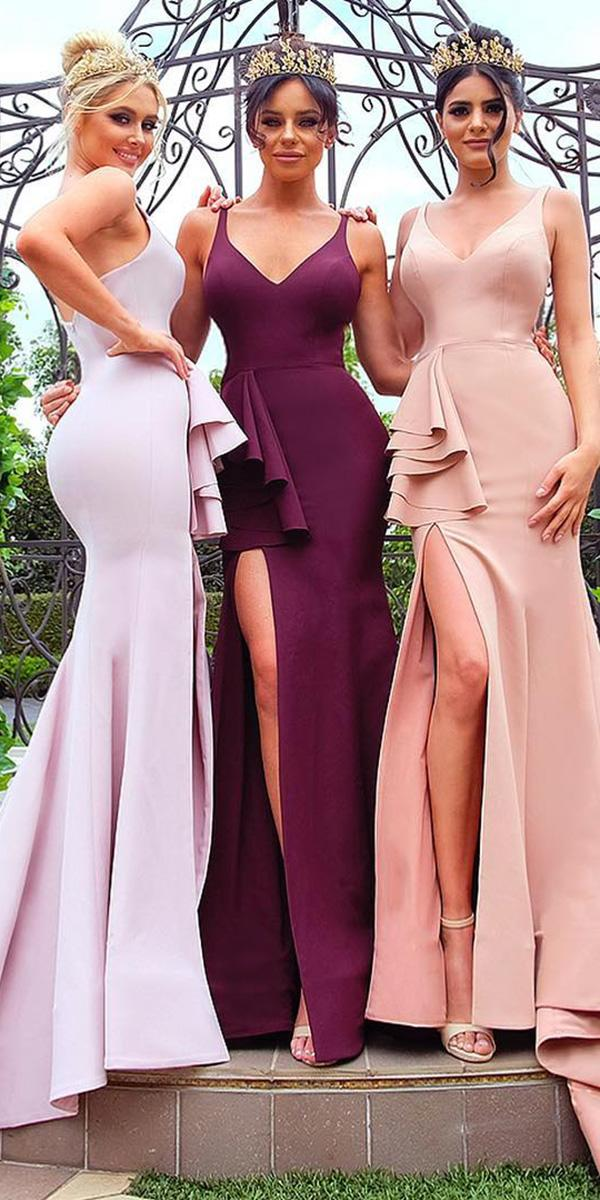 wedding party dresses v neckline long with slit doll house bridesmaids
