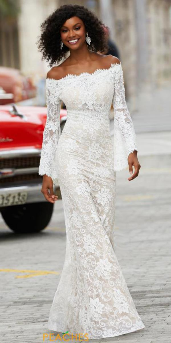 wedding party dresses with long sleeves portrait neckline lace reception for bride mori lee