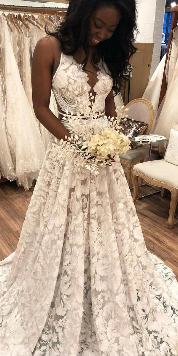 white elegant gowns a line full lace v neckline nurit hen couture