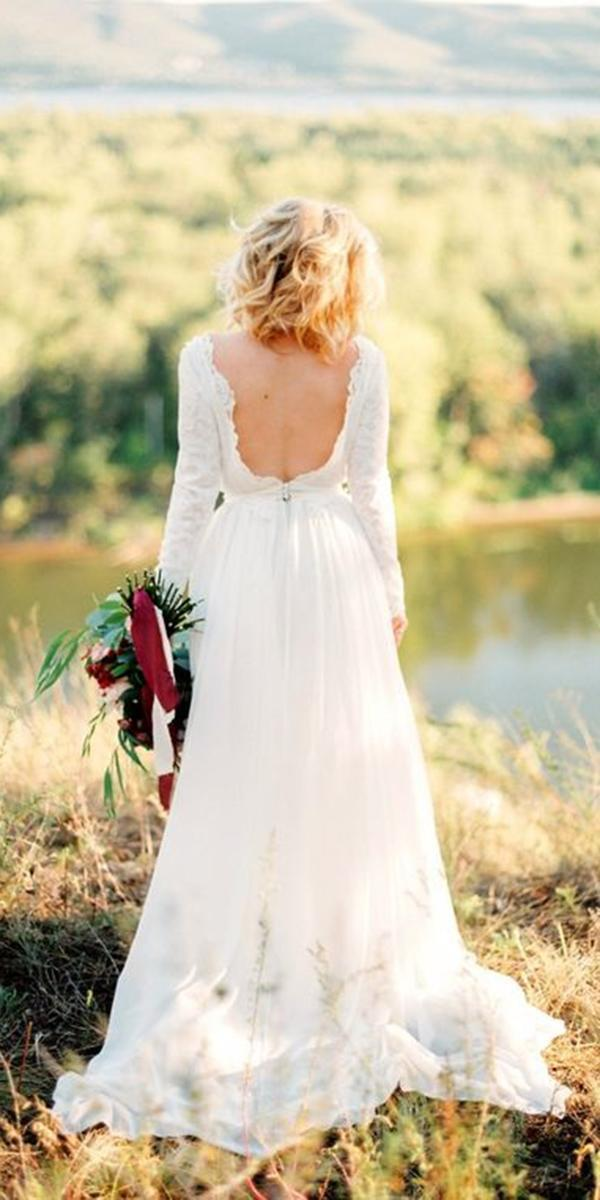 white elegant gowns a line with long sleeves low back cathy telle