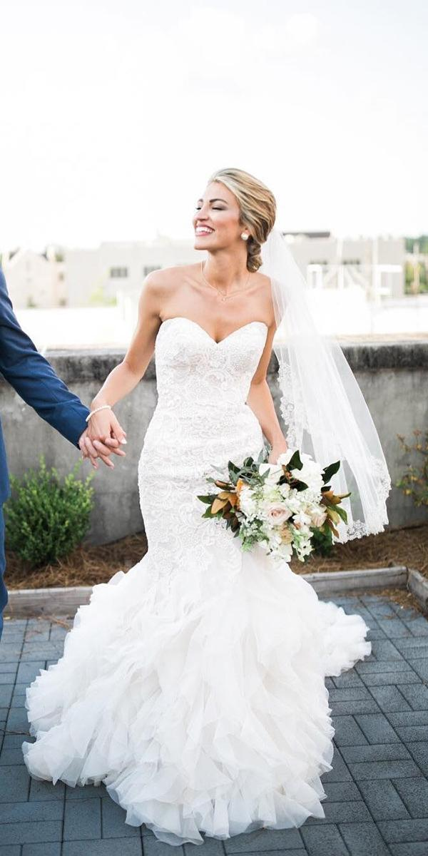 white elegant gowns mermaid sweetheart lace allure bridals