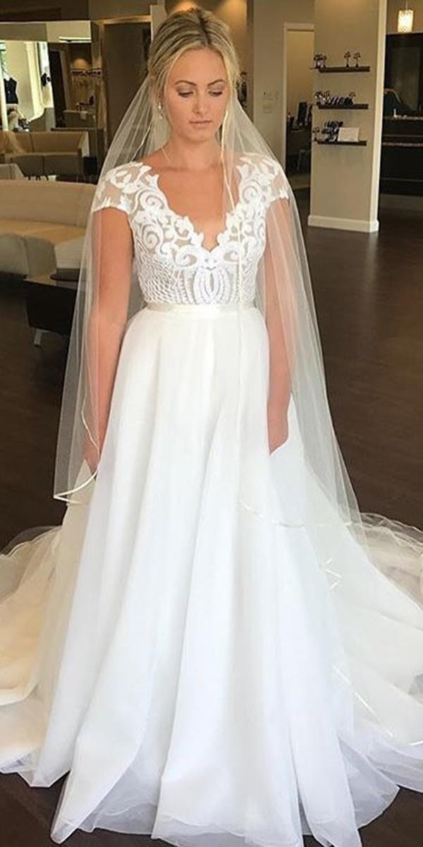 white elegant gowns with cap sleeves lace top classy with veil hayle paige