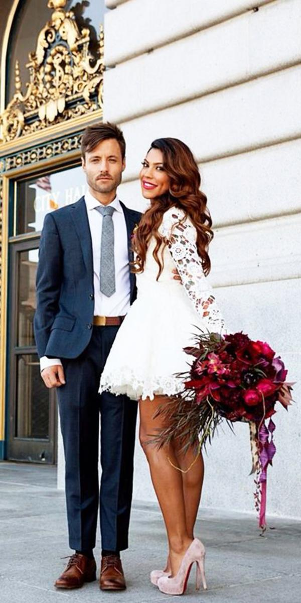 white elegant wedding dresses short with sleeves full lsce embroidered dreamers and lovers