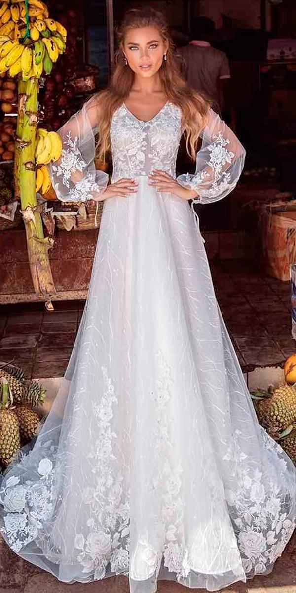 a line scoop neck with lantern sleeves boho wedding dresses with sleeves lanesta official