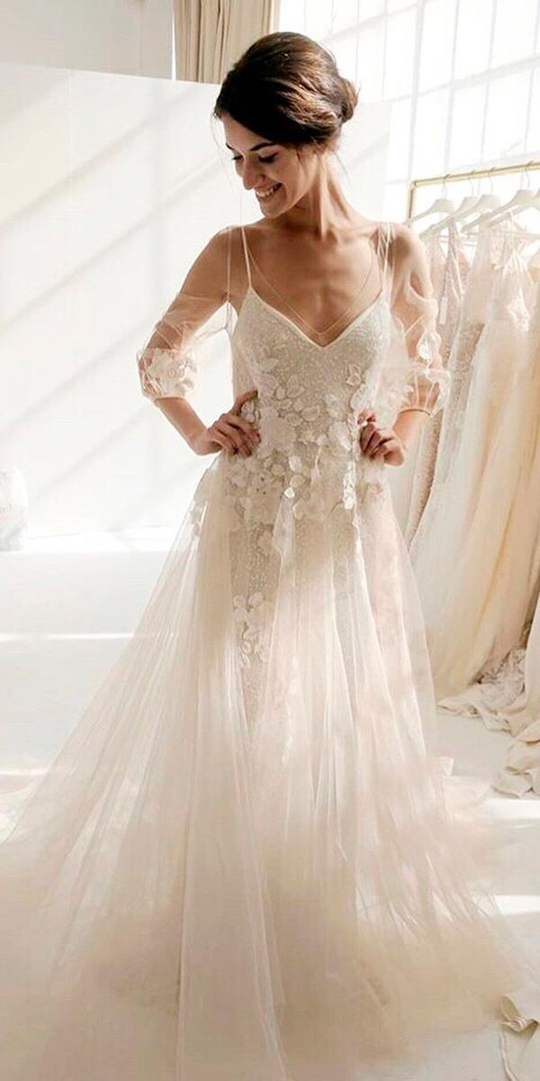 a line v neckline floral with illusion long sleeves boho wedding dresses with sleeves tara lauren