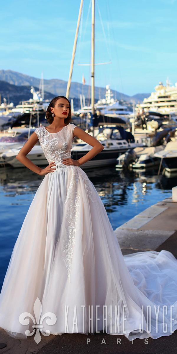 a line with cap sleeves ivory 2018 katherine joyce wedding dresses