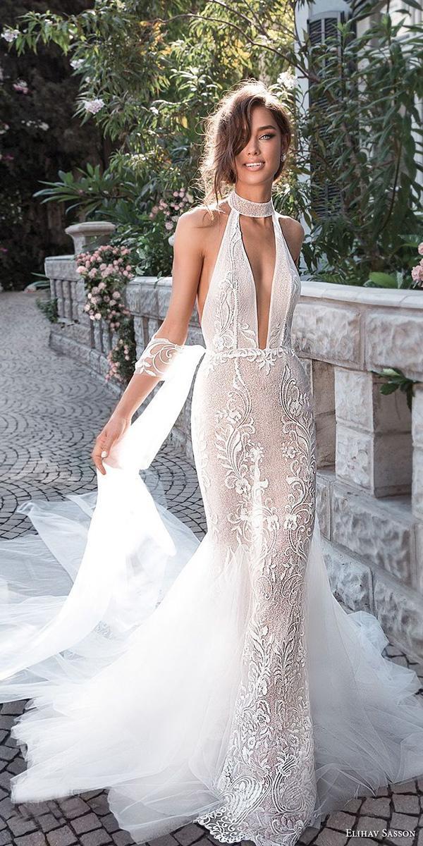 beach elihav sasson wedding dresses 2018 fit and flare high neck deep v neckline