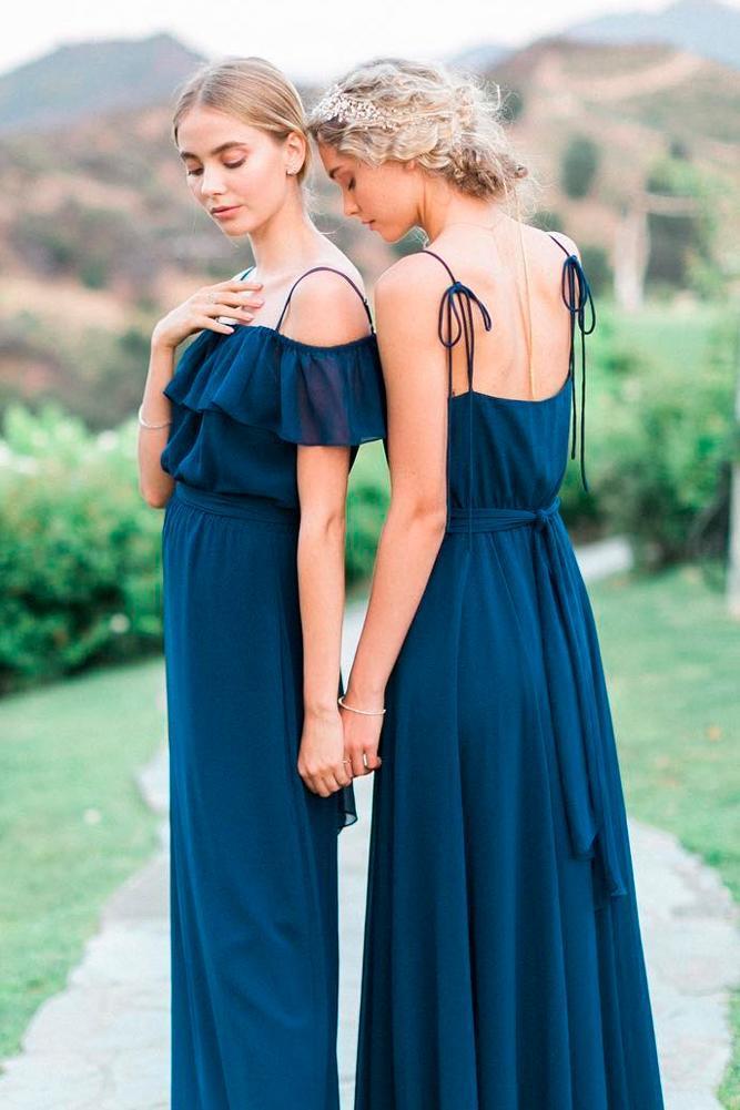 blue bridesmaid dresses long navy spaghetti straps open back joanna august