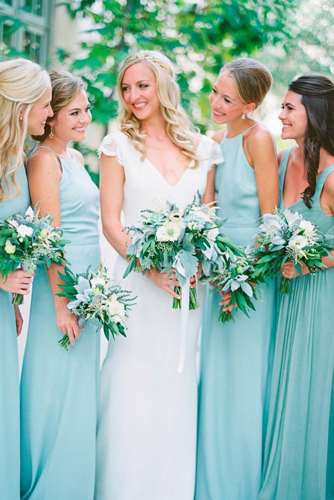 blue bridesmaid dresses long tiffany halter neckline jennifer blair photography