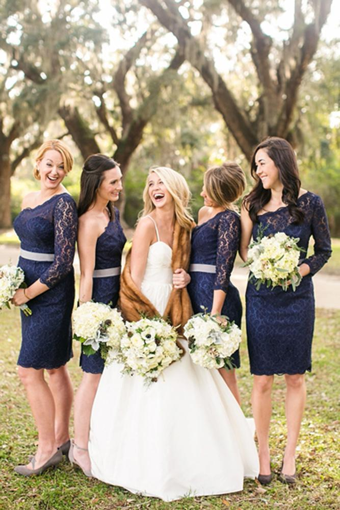 blue bridesmaid dresses short lace long sleeves one shoulder navy courtney dox