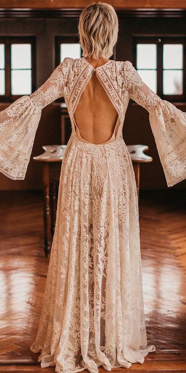 boho wedding dresses with sleeves open back straight gathered skirt vintage long sleeves immaclenovias