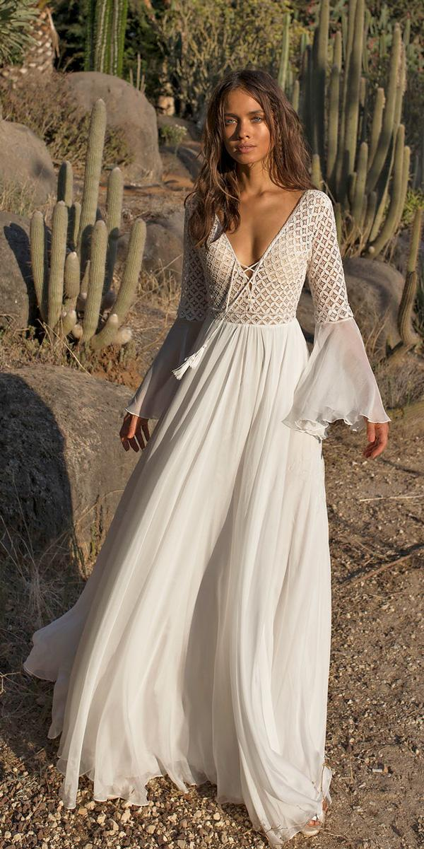 boho wedding dresses with sleeves vintage deep v neckline straight long sleeves asaf dabush