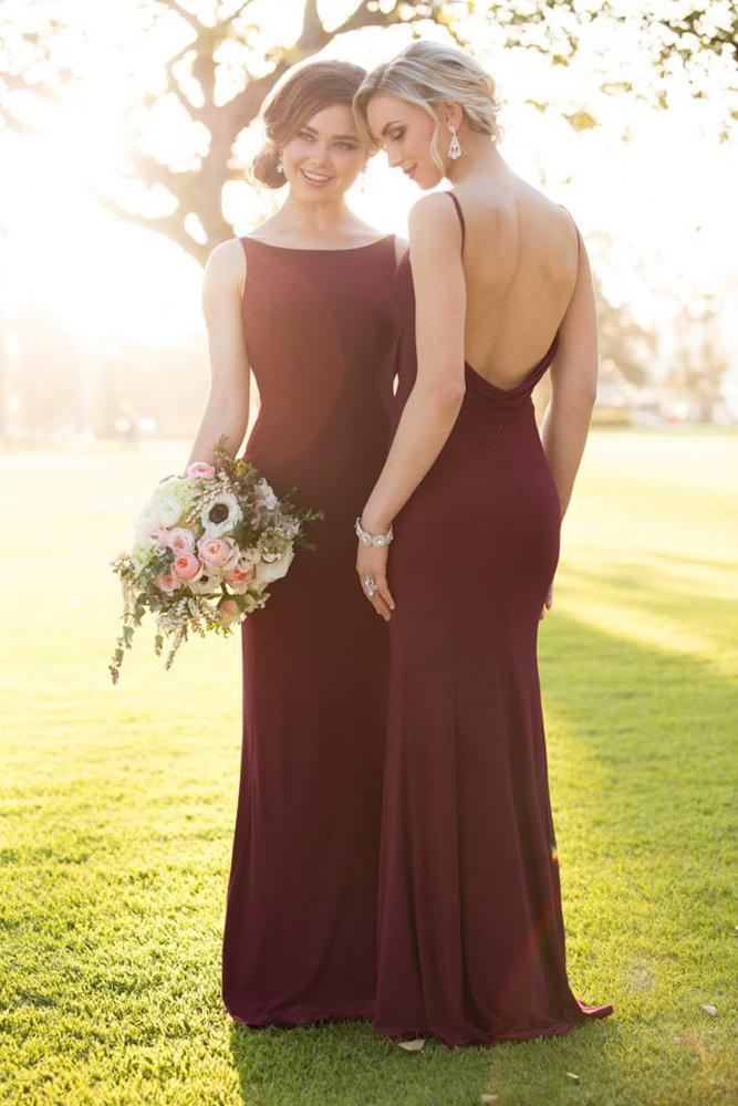 burgundy bridesmaid dresses long bateau neckline low back modest essense off australia