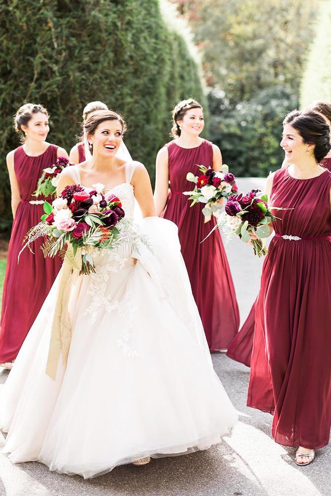 burgundy bridesmaid dresses long batequa neck fall jenny yoo