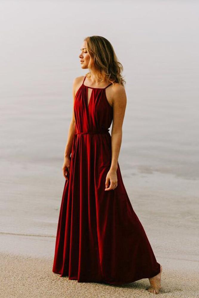 burgundy bridesmaid dresses long halter neckline two birds bridesmaid
