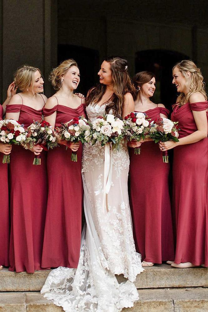 burgundy bridesmaid dresses long off the shoulder with spaghetti straps modest jenny yoo