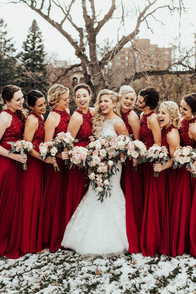 burgundy bridesmaid dresses long sequins neckline for fall janelle sutton
