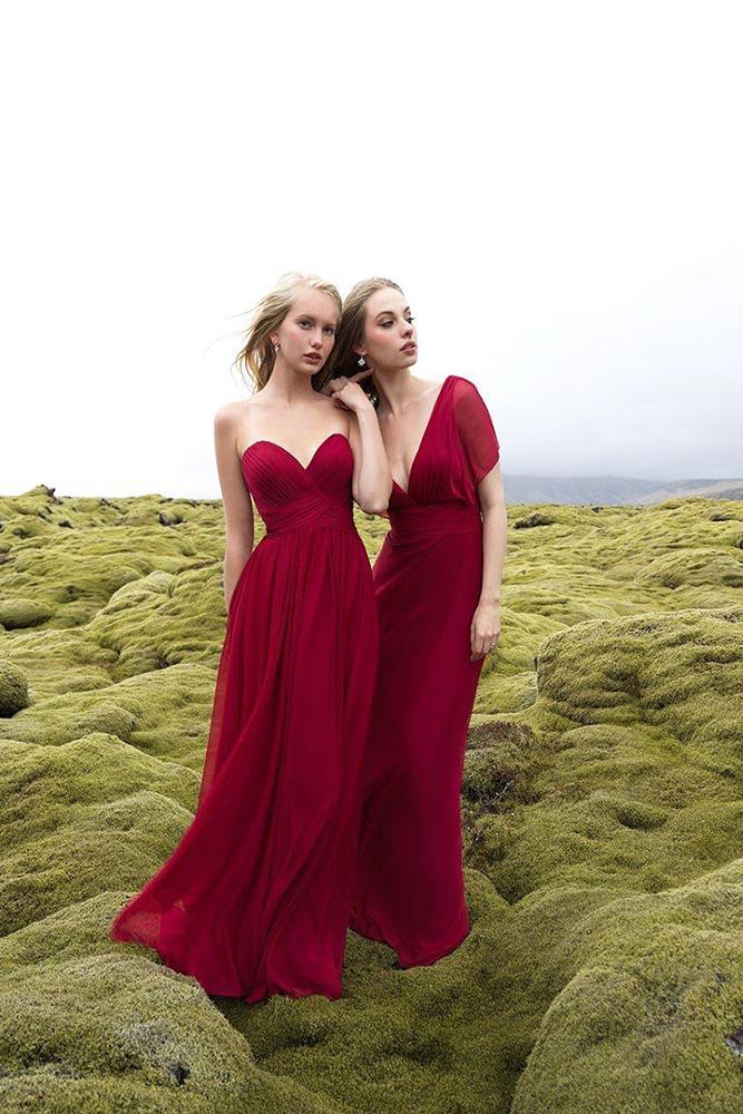 burgundy bridesmaid dresses long sweetheart v neckline modest allure bridals