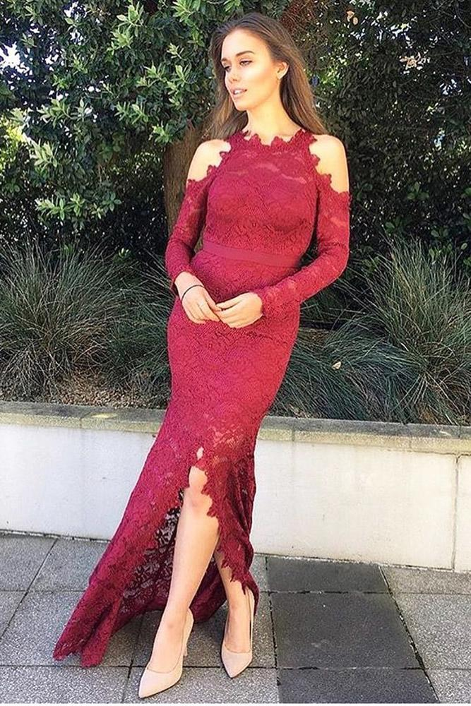 burgundy bridesmaid dresses long with sleves full lace white runway