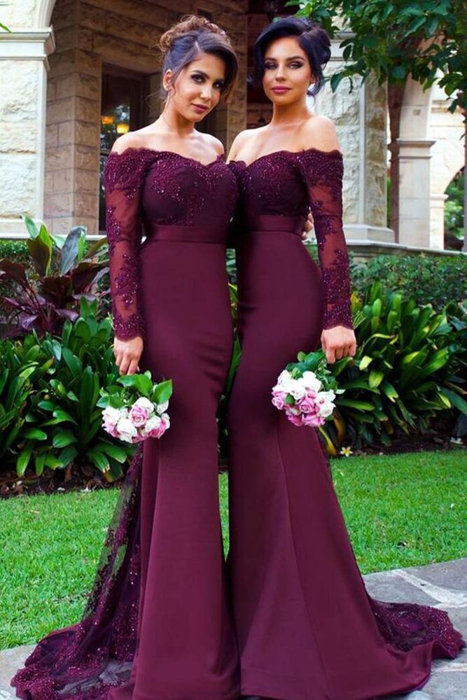 burgundy bridesmaid dresses off the shoulder with long sleeves sequins doll house bridesmaids