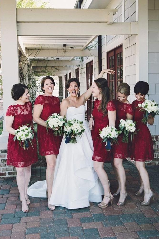 burgundy bridesmaid dresses short with cap sleeves lace echard wheeler photography