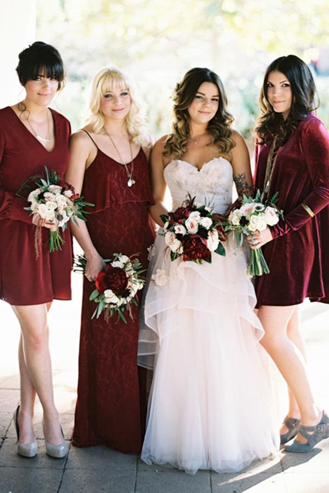 burgundy bridesmaid dresses short with long sleeves troy grover photographers