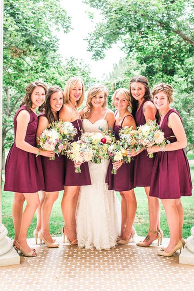 burgundy bridesmaid dresses shorth modest sleeveless erin l taylor photography